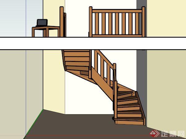 室内转角木楼梯su模型