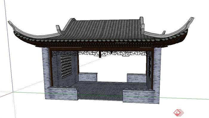 古典中式四角景观休闲亭子设计su模型图片