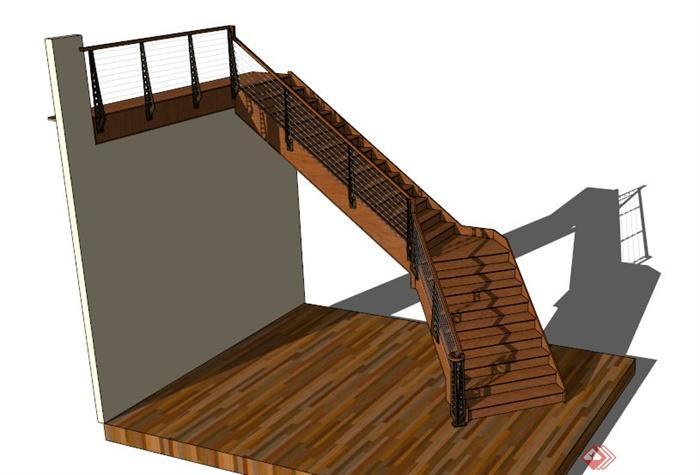 某室内现代木制楼梯su模型