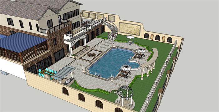 某欧式模型别墅大全效果图+SU庭院[原创]花园德州别墅图片