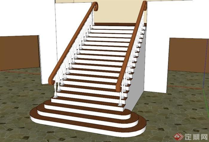 欧式罗马柱栏杆楼梯su模型