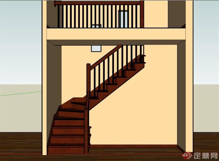 室内深色木楼梯su模型
