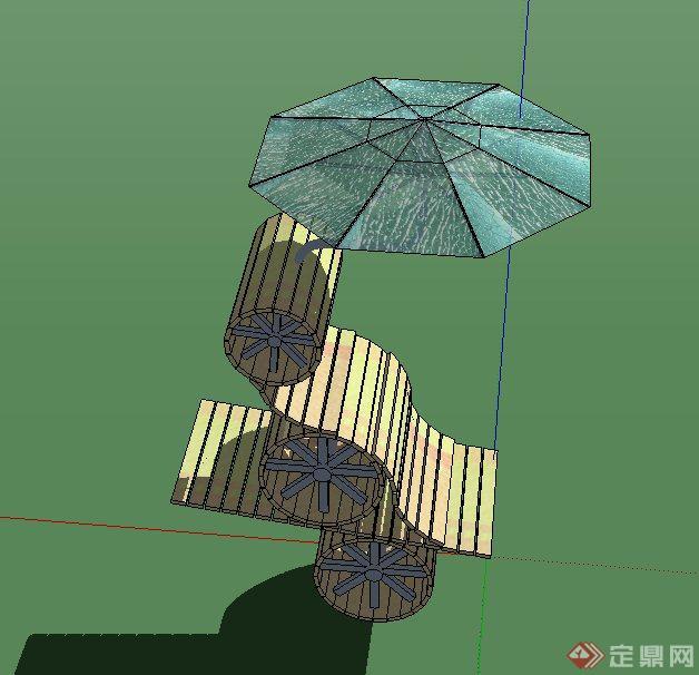 园林景观节点马车竹简小品设计su模型