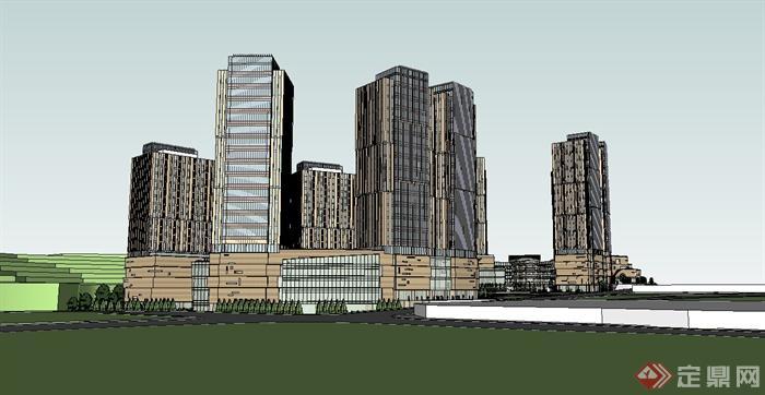 某山地办公楼,商业综合建筑设计su模型(1)