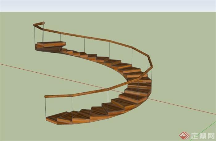 旋转简约木楼梯su模型