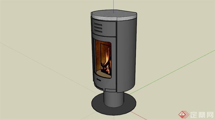 现代小型火炉壁炉su模型