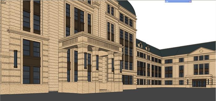 欧式中学建筑造型设计su模型