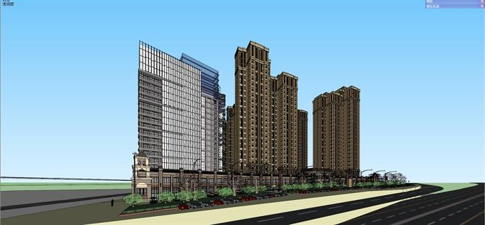 簡歐高層公寓商業住宅樓建筑設計su模型