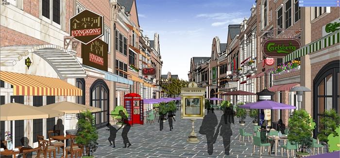 欧式商业街,商业建筑设计su模型图片