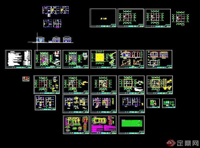 某两层现代别墅建筑结构水电设计cad施工图[原创]