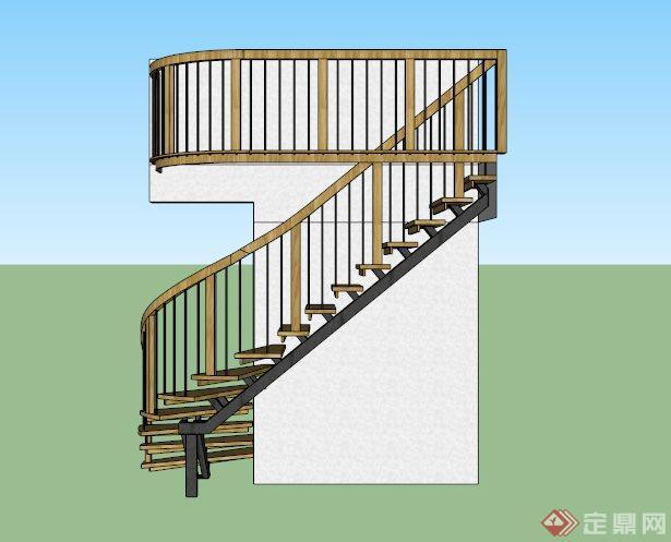 外墙防腐木楼梯su模型