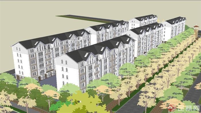 某欧式住宅区的入口和会所建筑与景观规划设计su模型