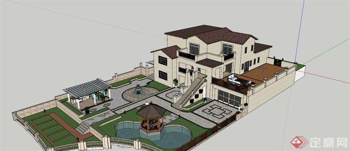 某现代中式别墅庭院花园设计su模型+效果图[原创]