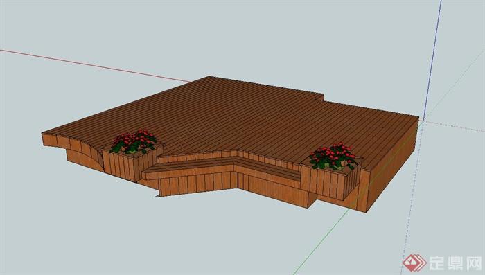 花箱木平台设计su模型