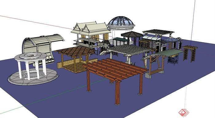 多个廊架,廊亭景观节点设计su模型