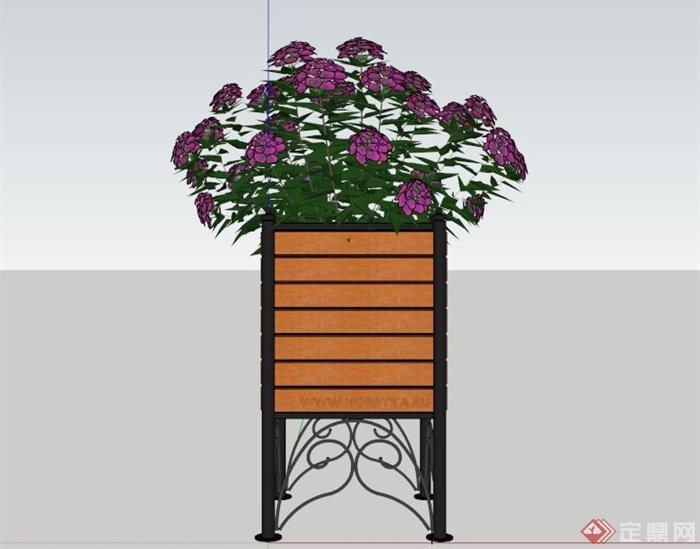 某木制花箱花架su模型