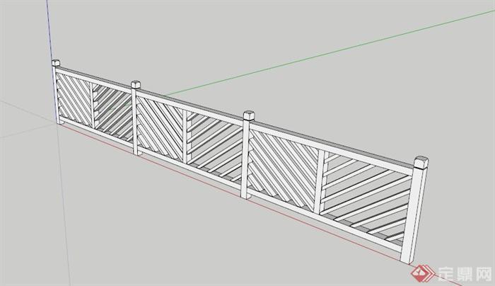 某现代中式栏杆su模型(1)