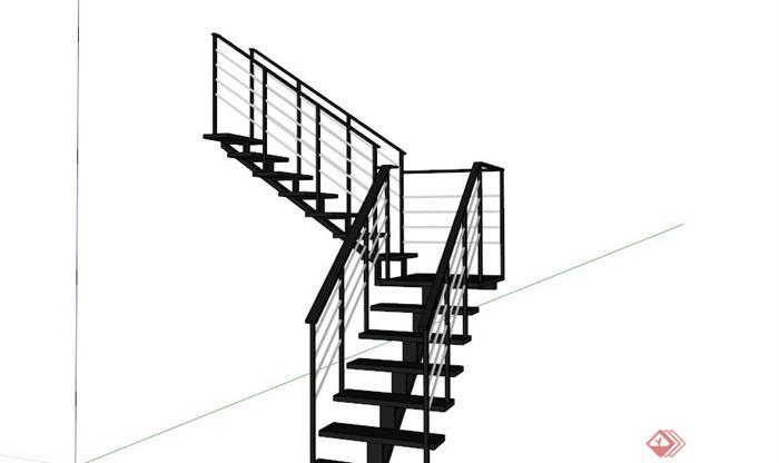 现代黑色楼梯su模型