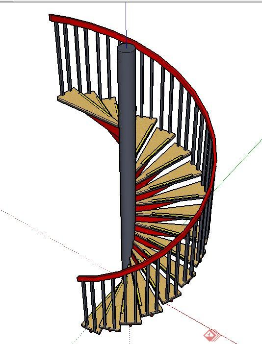 钢架结构室内旋转楼梯设计su模型