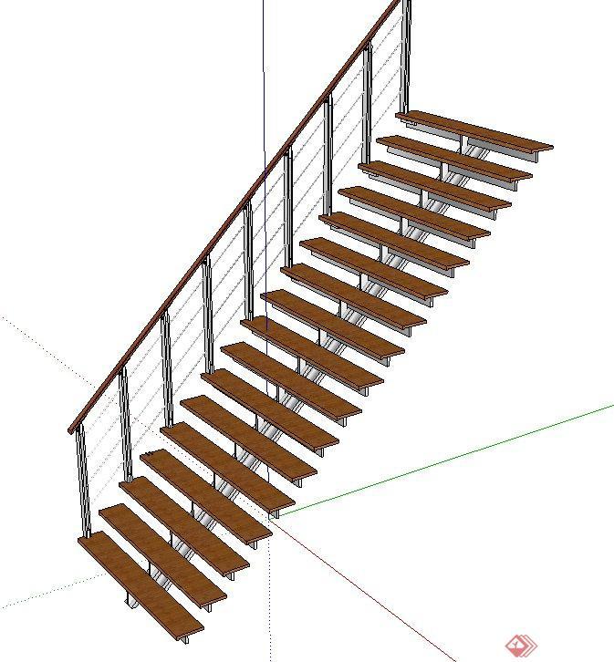 室内简易钢架结构双跑楼梯设计su模型