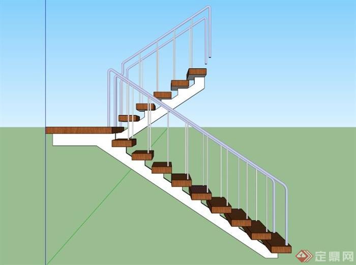 室内木制铁栏杆楼梯su模型