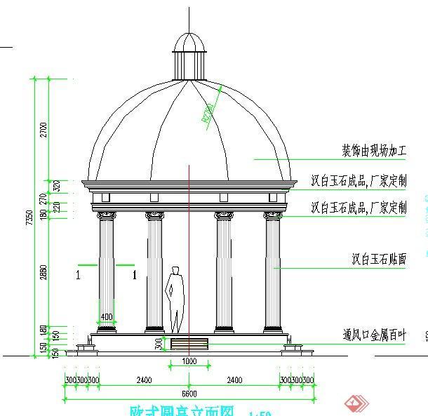 园林景观节点欧式园亭设计cad施工图