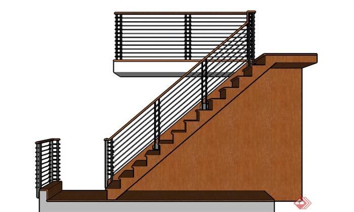 室内设计木制楼梯su模型