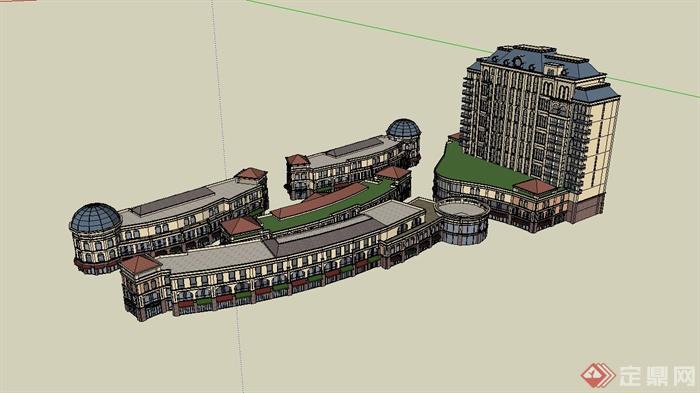 欧式办公楼,商业街区建筑设计su模型