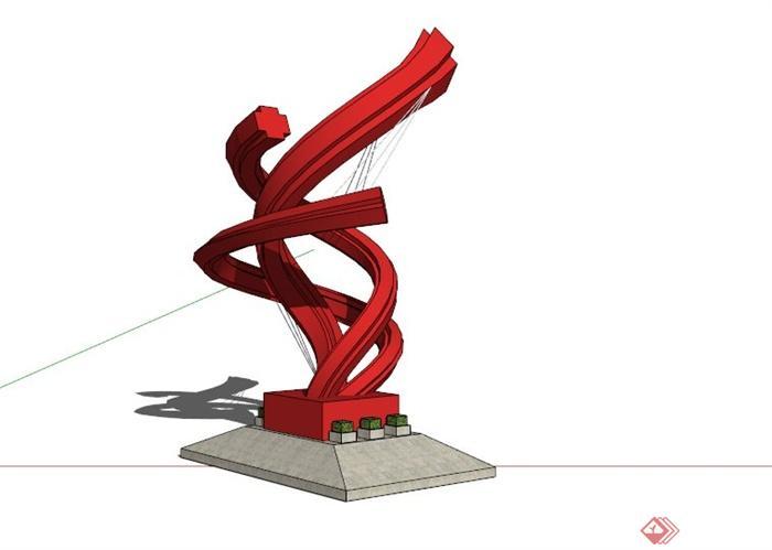 现代红色抽象雕塑su模型(3)