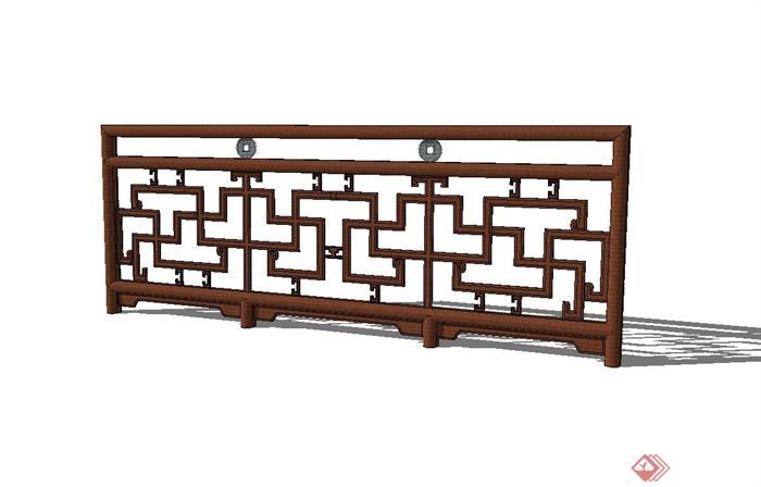 古典中式方格木栏杆设计su模型