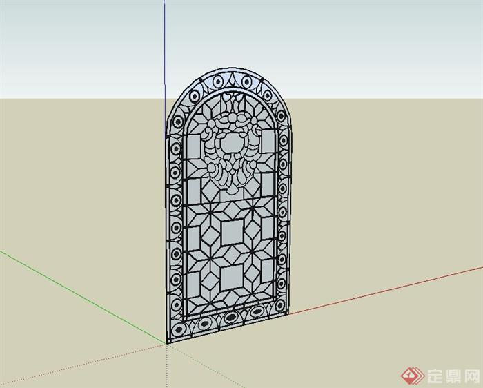 欧式雕花窗子设计su模型