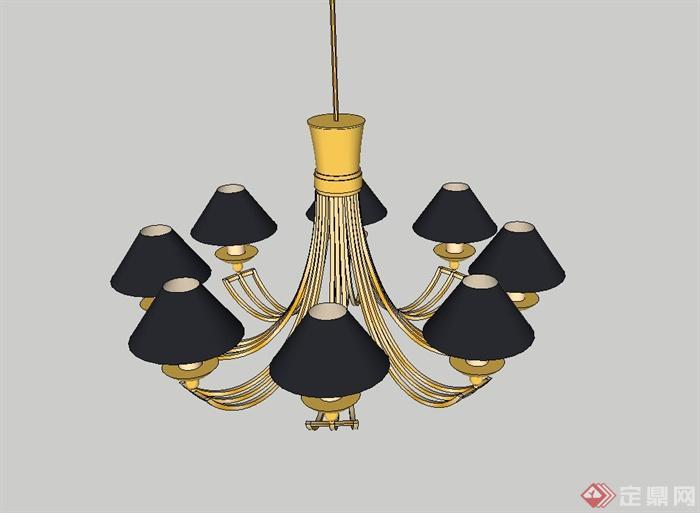 欧式田园吊灯设计su模型(1)