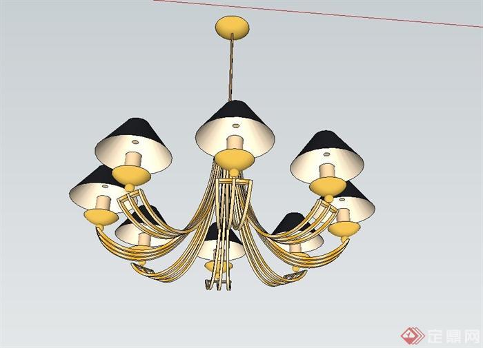欧式田园吊灯设计su模型