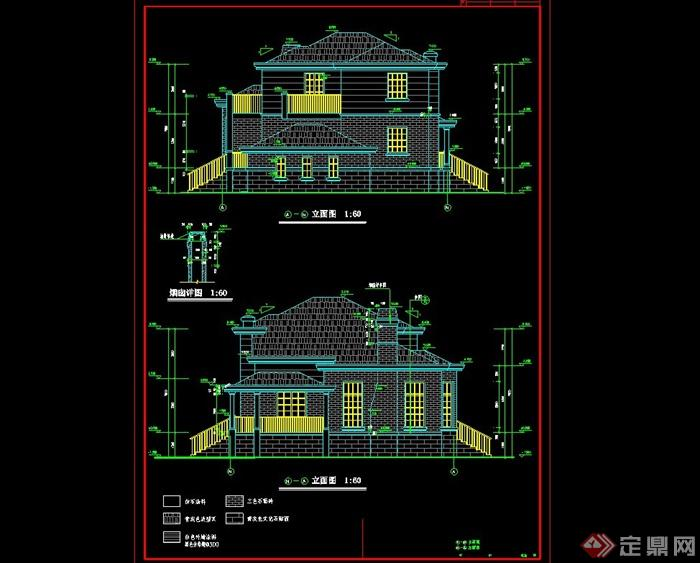 二层欧式别墅建筑结构cad施工图(含缩略效果图),含缩略图,该图纸绘画详细,材料标注明确,可直接用于施工使用,具有很好的参考价值,欢迎借鉴及下载使用。