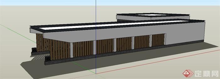 中式风格地下车库入口廊架su模型(3)图片