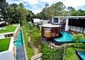 别墅小区住宅景观,中庭景观,汀步,泳池,绿篱