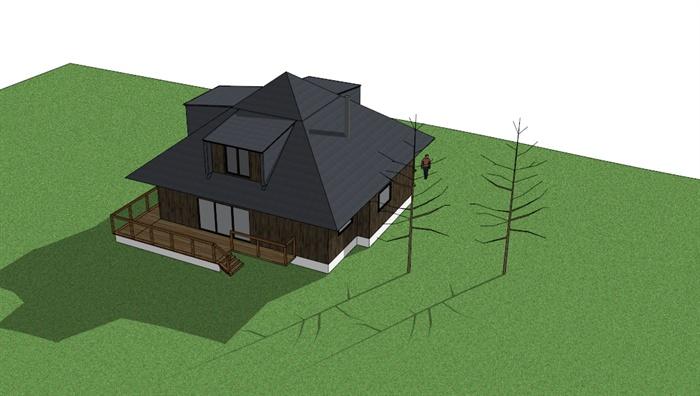 日式风格单层小木屋住宅建筑设计su模型3
