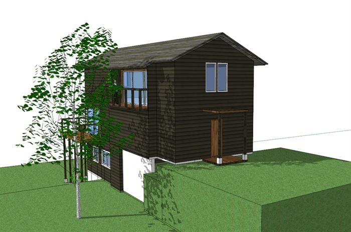 简单斜面屋顶小别墅sketchup模型[原创]
