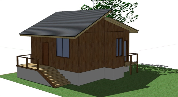双坡屋顶单层木质小别墅sketchup模型[原创]