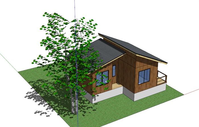 双坡屋顶单层木质小别墅SketchUp模型