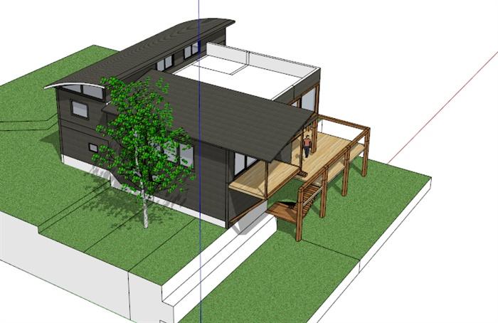 现代木质小别墅sketchup模型[原创]