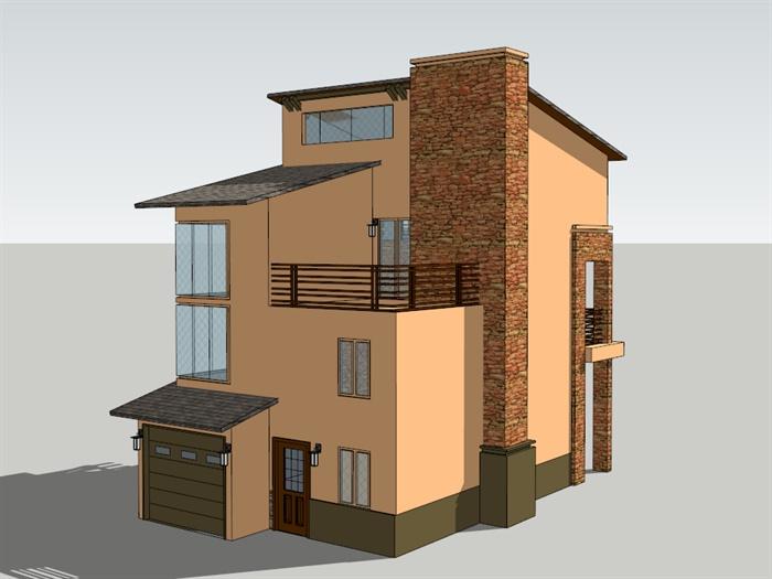 农村自建三层别墅建筑设计su模型[原创]