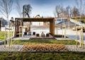 木质廊架,种植池