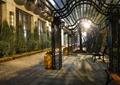 廊架,花架廊,绿化带,花钵,长椅