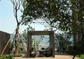 小区休闲区,玻璃廊架,桌椅,汀步