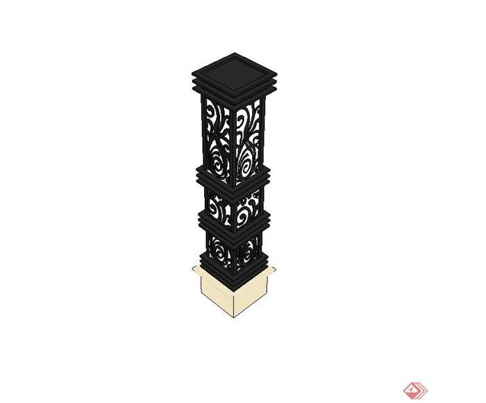 欧式铁艺景观灯柱设计su模型