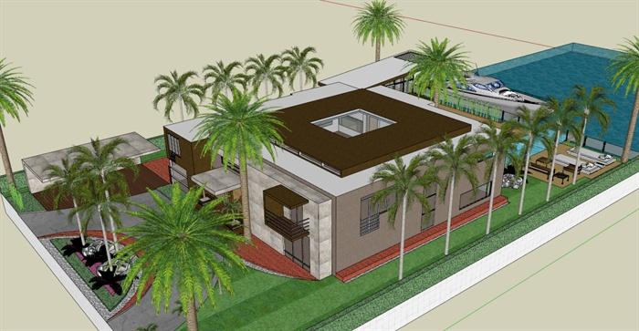 私人豪华海景别墅sketchup模型[原创]