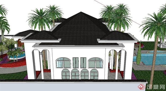 欧式景观别墅会所建筑设计sketchup模型[原创]