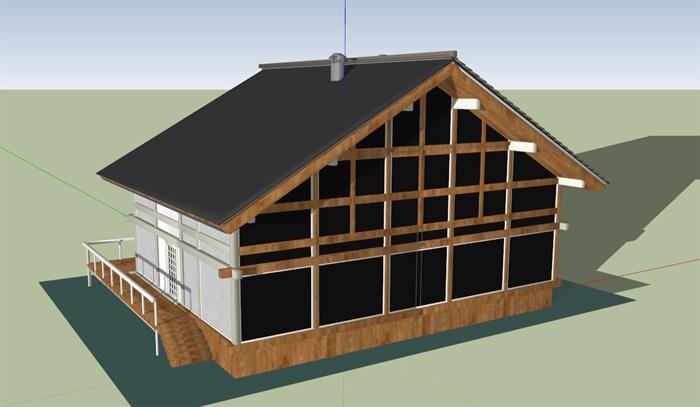 坡屋顶木质别墅建筑sketchup模型[原创]