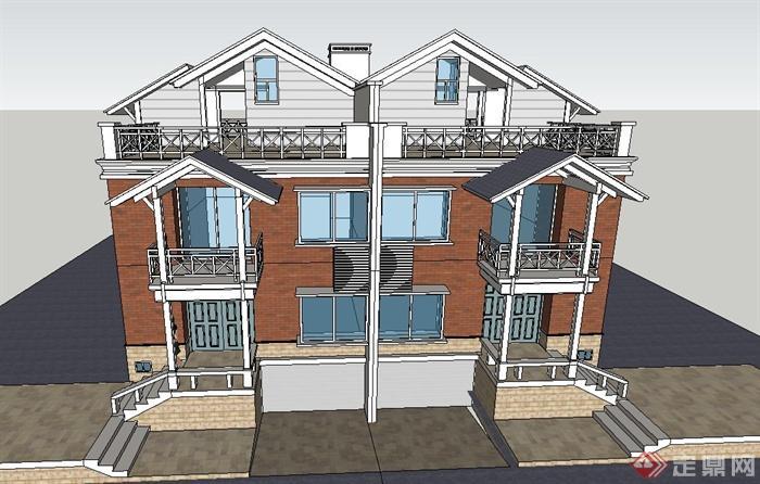 农村自建现代风格两层别墅sketchup模型[原创]